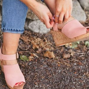 Blush Suede TOMS Wedges